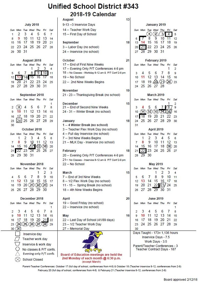 pictures of 2018-19 school calendar